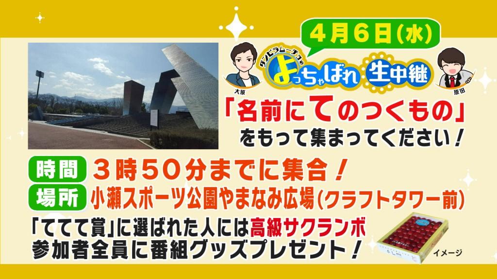 【0134】時間場所小瀬スポーツ公園やまなみ広場(クラフトタワー前)3時50分